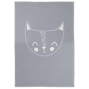 Cat Cotton Grey Tea Towel