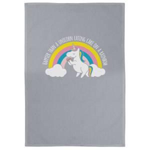 Happier Than A Unicorn Eating Cake On A Rainbow Cotton Grey Tea Towel
