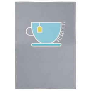 Spill The Tea Cotton Grey Tea Towel