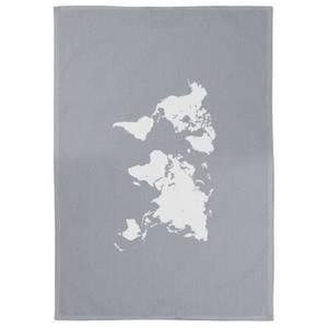 World Map Cotton Grey Tea Towel