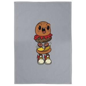 Happy Burger Cotton Grey Tea Towel