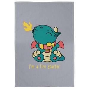 I'm A Fire Starter Cotton Grey Tea Towel
