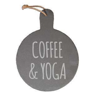 Coffee & Yoga Engraved Slate Cheese Board
