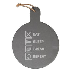 Eat, Sleep, Brew & Repeat Engraved Slate Cheese Board