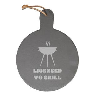 Licensed To Grill Engraved Slate Cheese Board