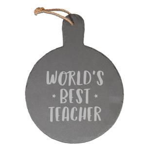 World's Best Teacher Engraved Slate Cheese Board