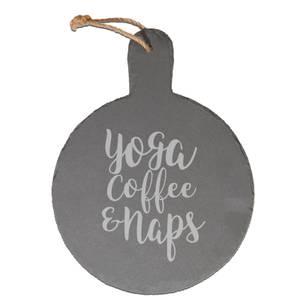 Yoga, Coffee And Naps Engraved Slate Cheese Board