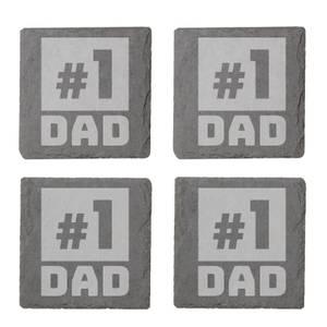 #1 Dad Engraved Slate Coaster Set