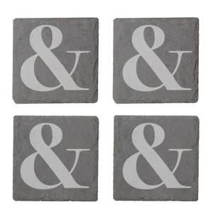 & Engraved Slate Coaster Set