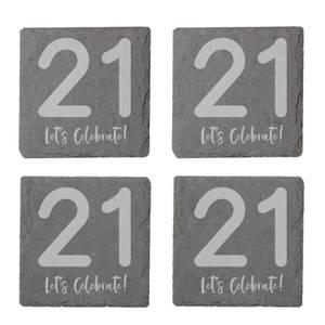 21 Let's Celebrate Engraved Slate Coaster Set