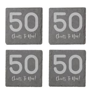 50 Cheers To You! Engraved Slate Coaster Set