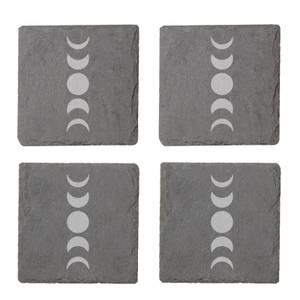 Abstract Moon Phase Engraved Slate Coaster Set