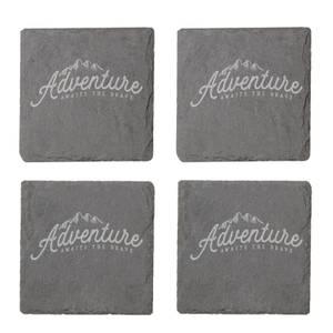 Adventure Awaits The Brave Engraved Slate Coaster Set