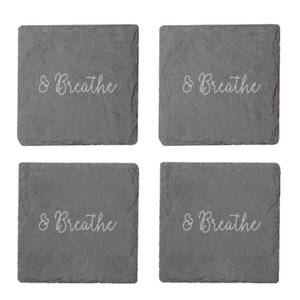 And Breathe Engraved Slate Coaster Set