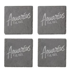 Aquarius As Fuck Engraved Slate Coaster Set