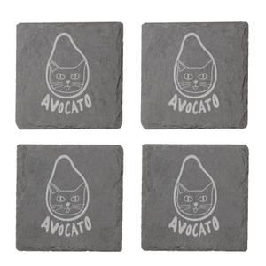 Avocato Engraved Slate Coaster Set