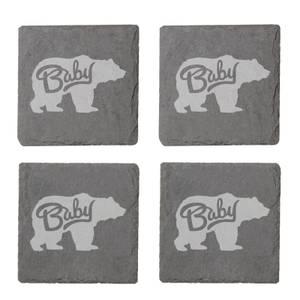 Baby Bear Engraved Slate Coaster Set