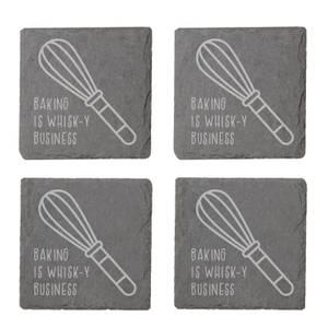 Baking Is Whisk-y Business Engraved Slate Coaster Set