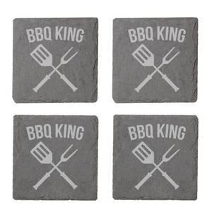 Bbq King Engraved Slate Coaster Set