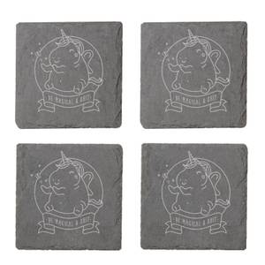 Be Magical & Shit Engraved Slate Coaster Set