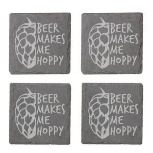 Beer Makes Me Hoppy Engraved Slate Coaster Set