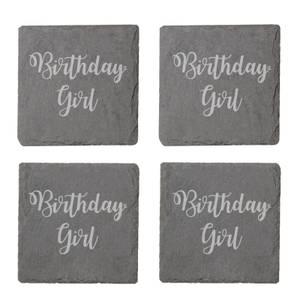 Birthday Girl Engraved Slate Coaster Set