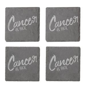 Cancer As Fuck Engraved Slate Coaster Set