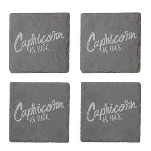 Capricorn As Fuck Engraved Slate Coaster Set