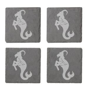 Capricorn Engraved Slate Coaster Set