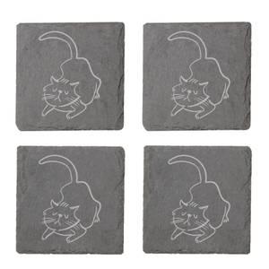 Cat Engraved Slate Coaster Set