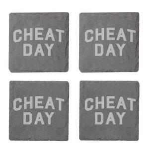 Cheat Day Engraved Slate Coaster Set