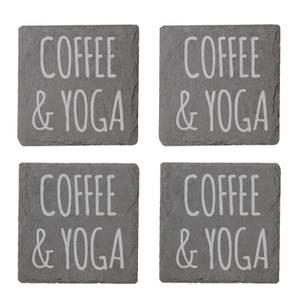 Coffee & Yoga Engraved Slate Coaster Set