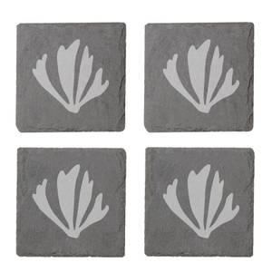 Coral Shapes Engraved Slate Coaster Set