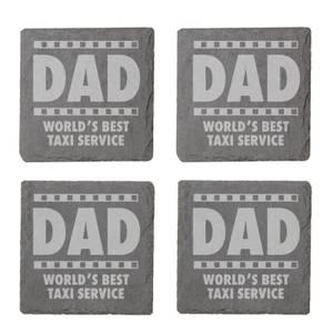 Dad World's Best Service Taxi Service Engraved Slate Coaster Set