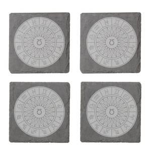 Decorative Horoscope Symbols Engraved Slate Coaster Set
