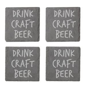 Drink Craft Beer Engraved Slate Coaster Set