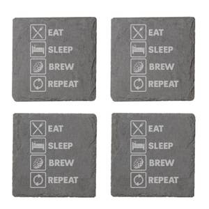 Eat, Sleep, Brew & Repeat Engraved Slate Coaster Set