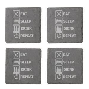 Eat, Sleep, Drink & Repeat Engraved Slate Coaster Set