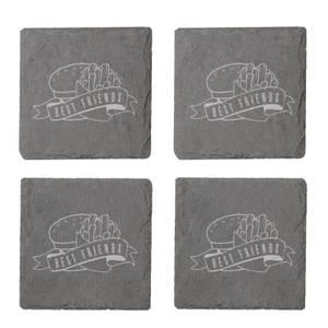 Fast Food Best Friends Engraved Slate Coaster Set