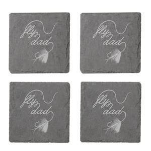 Fly Dad Engraved Slate Coaster Set