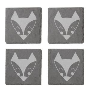 Fox Engraved Slate Coaster Set
