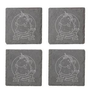 Fuck Younicorn Engraved Slate Coaster Set