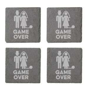 Game Over Bride Engraved Slate Coaster Set