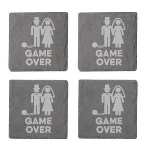 Game Over Groom Engraved Slate Coaster Set