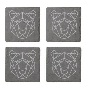 Geometric Bear Head Engraved Slate Coaster Set