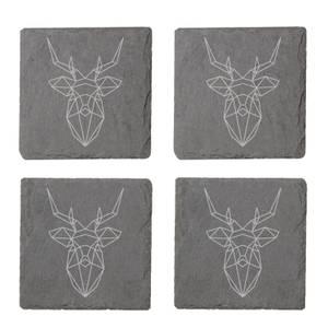 Geometric Stag Engraved Slate Coaster Set