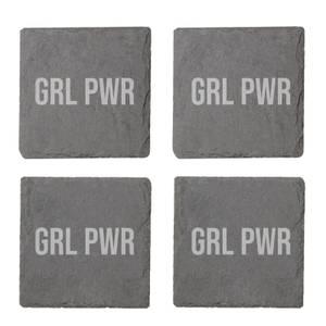 Grl Power Engraved Slate Coaster Set