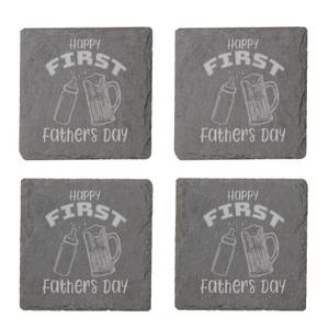 Happy First Fathers Day Engraved Slate Coaster Set