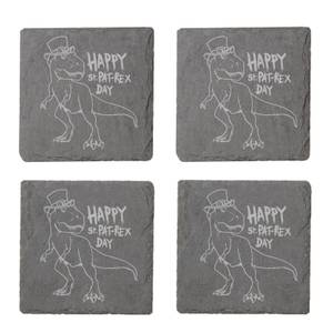 Happy St. Pat-Rex Day Engraved Slate Coaster Set