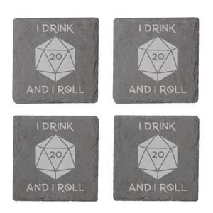 I Drink And I Roll D20 Engraved Slate Coaster Set
